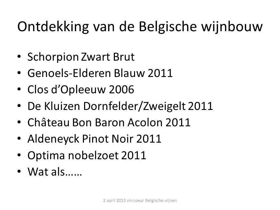 Schorpion – Zwart Brut – Vliermaal – 2/3 Chardonnay en 1/3 Pinot Noir – Handmatig geplukt en gesorteerd – Onmiddellijk geperst – Gisting in roestvrij staal – Méthode traditionnelle Rijping van 18 maanden – Dossage: 8g/l – 12% Vol Vlaamse Mousserende kwaliteitswijn 2 april 2013 vin coeur Belgische wijnen