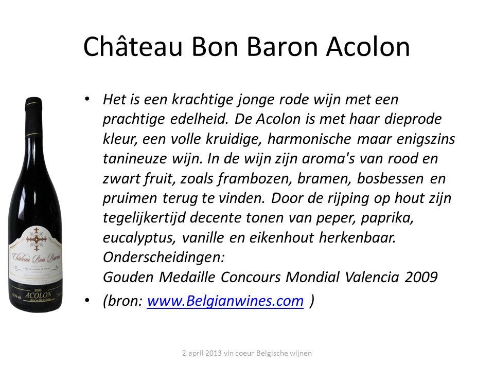 Château Bon Baron Acolon Het is een krachtige jonge rode wijn met een prachtige edelheid.