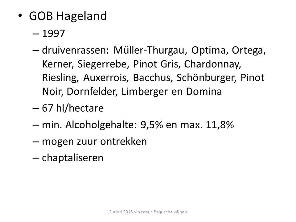 Genoels-Elderen blauw - GOB Haspengouw / Vlaamse mousserende kwaliteitswijn - Riemst – Limburg - Start 1991: 4500m 2 ; 2.350 wijnstokken - 2010: 22ha; 95.000 wijnstokken - Gemiddelde productie: <40hl/ha - 110.000 flessen /jaar -druivenrassen: - 18 ha Chardonnay - 4 ha Pinot Noir - proeftuin met 20 verschillende druivensoorten - wijnen: - 60% wit Chardonnay -25 % wit mousserende Chardonnay - 15% rosé mousserend of Pinot Noir 2 april 2013 vin coeur Belgische wijnen