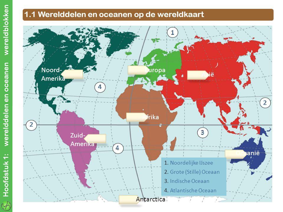 Hoofdstuk 1: werelddelen en oceanen wereldblokken 1.1 Werelddelen en oceanen op de wereldkaart Noord- Amerika Zuid- Amerika Antarctica Europa Afrika Azië Oceanië 1 2 2 3 4 4 2 1 2 4 4 3 1.