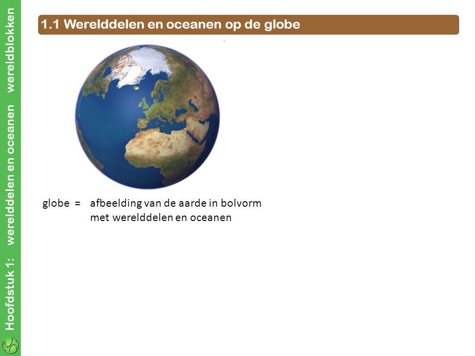 Hoofdstuk 1: werelddelen en oceanen wereldblokken 1.1 Werelddelen en oceanen op de globe globe = afbeelding van de aarde in bolvorm met werelddelen en oceanen