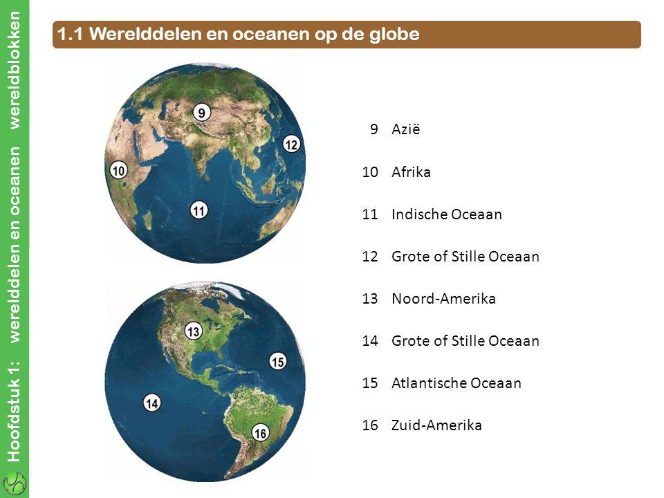 Hoofdstuk 1: werelddelen en oceanen wereldblokken 1.1 Werelddelen en oceanen op de globe 9Azië 10Afrika 11Indische Oceaan 12Grote of Stille Oceaan 13N