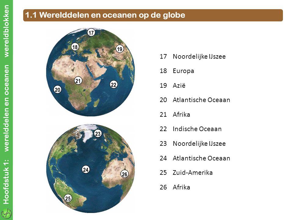Hoofdstuk 1: werelddelen en oceanen wereldblokken 1.1 Werelddelen en oceanen op de globe 17Noordelijke IJszee 18Europa 19Azië 20Atlantische Oceaan 21Afrika 22Indische Oceaan 23Noordelijke IJszee 24Atlantische Oceaan 25Zuid-Amerika 26Afrika