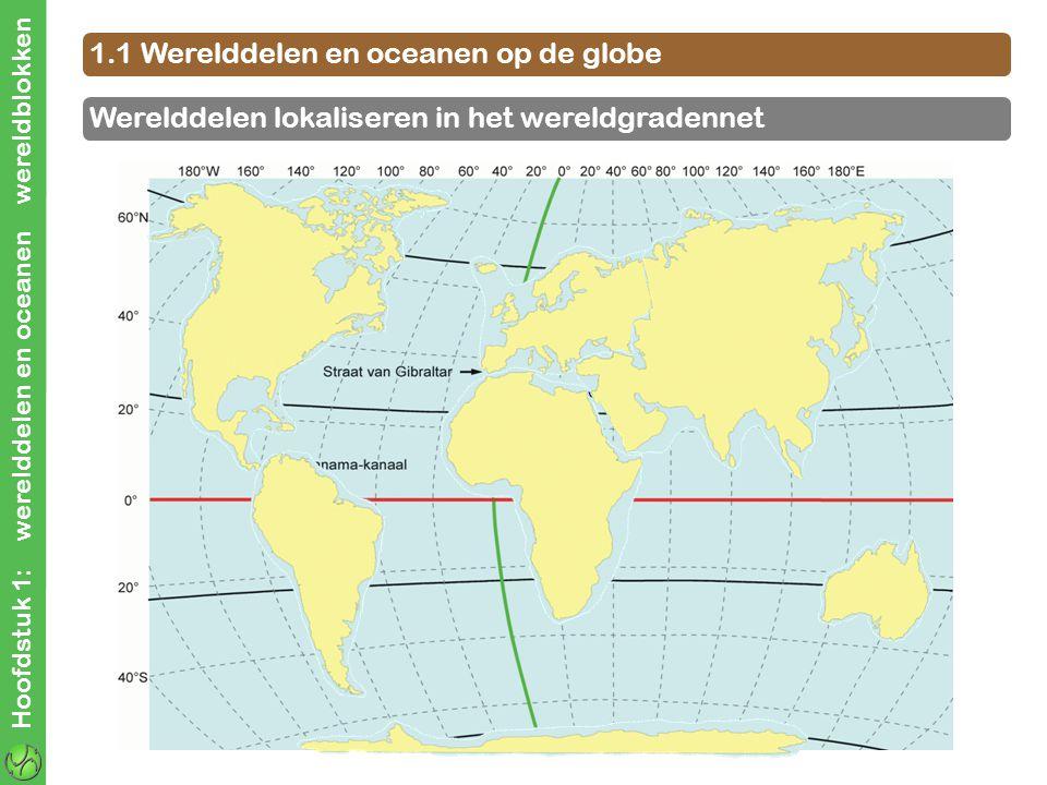 Hoofdstuk 1: werelddelen en oceanen wereldblokken 1.1 Werelddelen en oceanen op de globe Werelddelen lokaliseren in het wereldgradennet