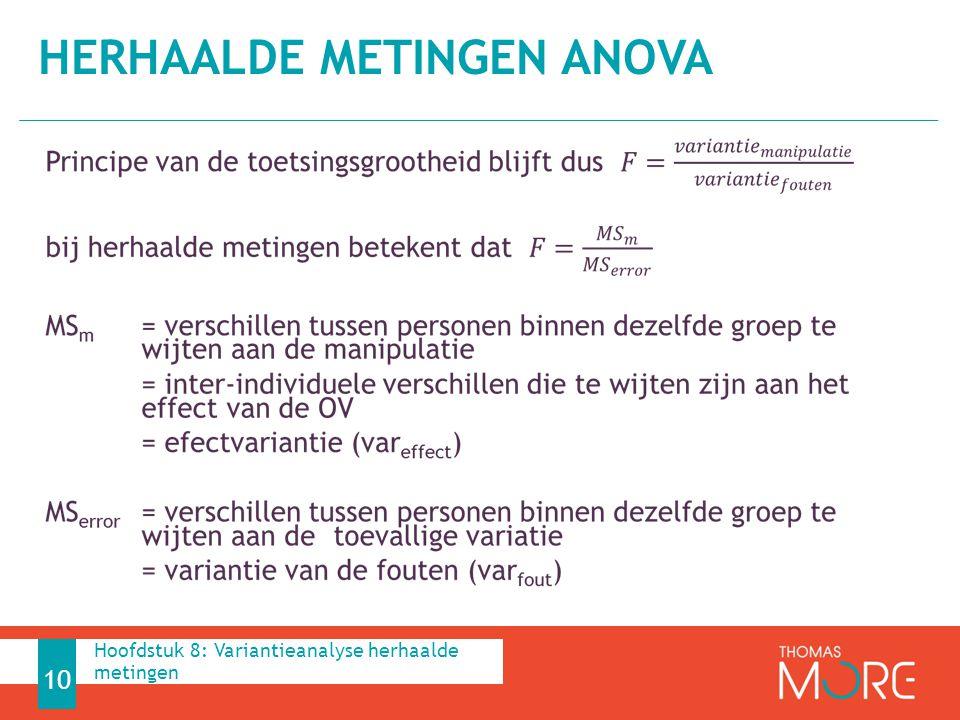 HERHAALDE METINGEN ANOVA 10 Hoofdstuk 8: Variantieanalyse herhaalde metingen