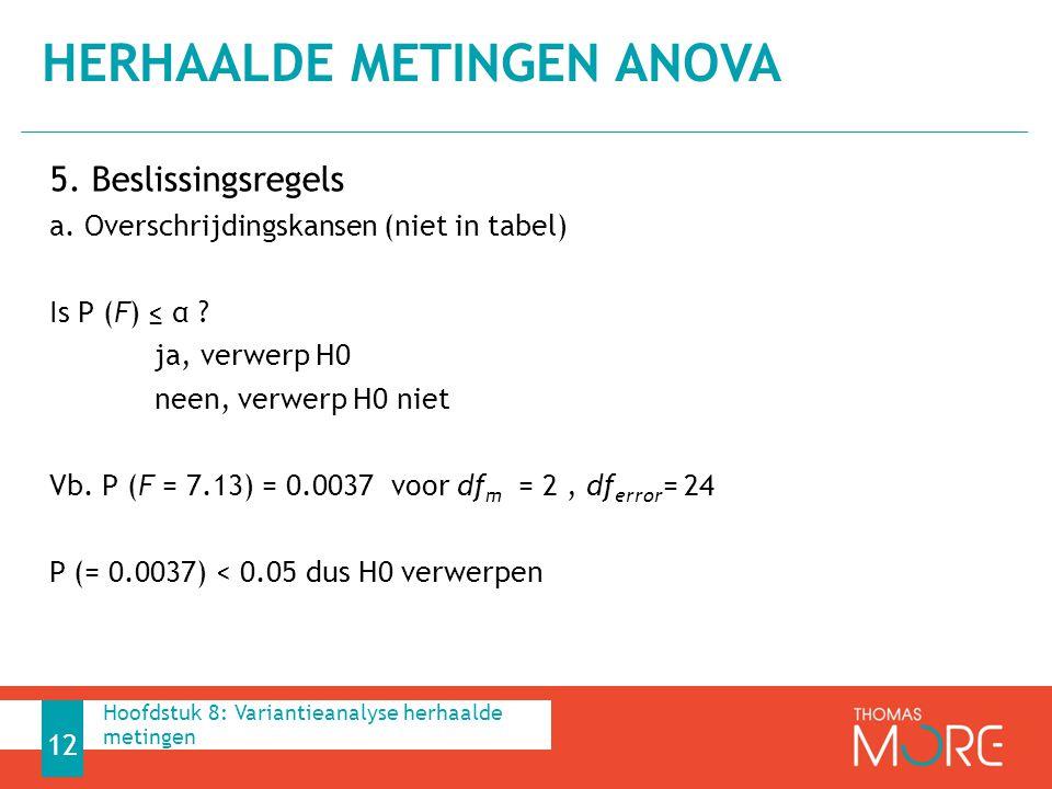 5. Beslissingsregels a. Overschrijdingskansen (niet in tabel) Is P (F) ≤ α ? ja, verwerp H0 neen, verwerp H0 niet Vb. P (F = 7.13) = 0.0037 voor df m