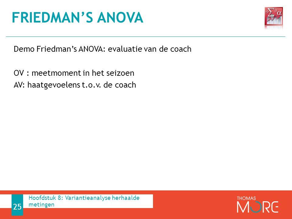 Demo Friedman's ANOVA: evaluatie van de coach OV : meetmoment in het seizoen AV: haatgevoelens t.o.v. de coach FRIEDMAN'S ANOVA 25 Hoofdstuk 8: Varian