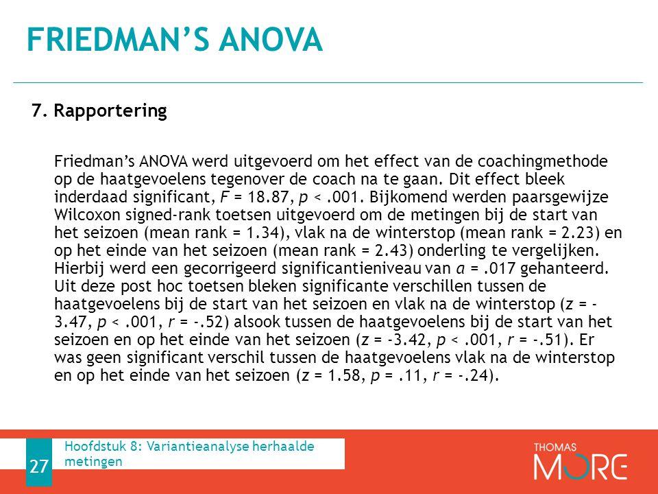 7. Rapportering Friedman's ANOVA werd uitgevoerd om het effect van de coachingmethode op de haatgevoelens tegenover de coach na te gaan. Dit effect bl