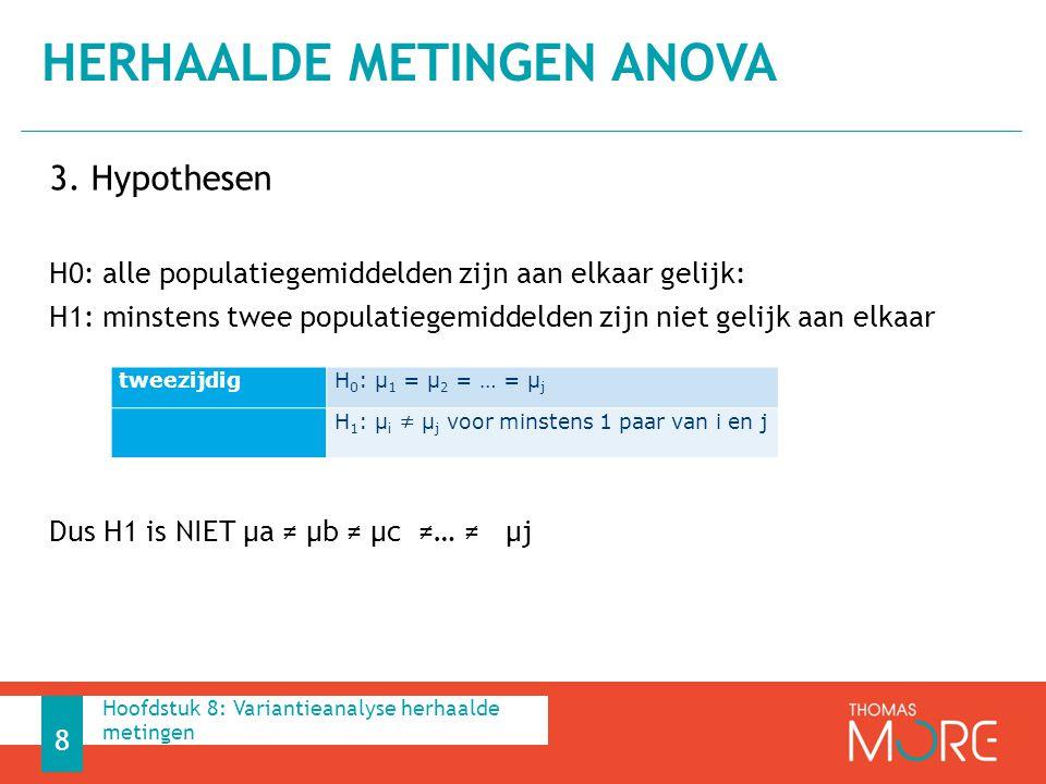 3. Hypothesen H0: alle populatiegemiddelden zijn aan elkaar gelijk: H1: minstens twee populatiegemiddelden zijn niet gelijk aan elkaar Dus H1 is NIET