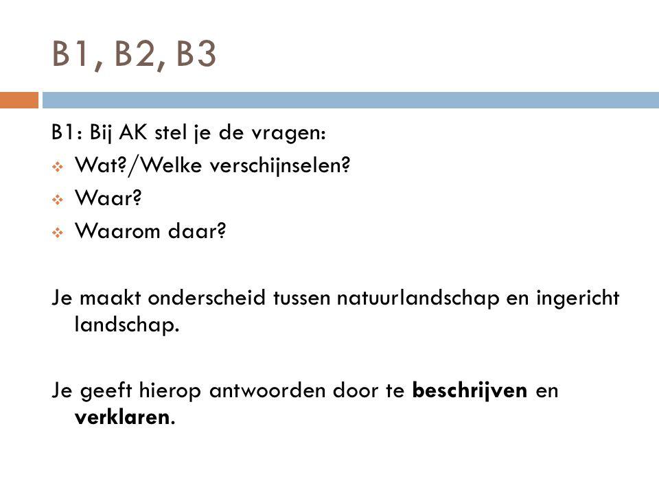 B1, B2, B3 B1: Bij AK stel je de vragen:  Wat?/Welke verschijnselen?  Waar?  Waarom daar? Je maakt onderscheid tussen natuurlandschap en ingericht