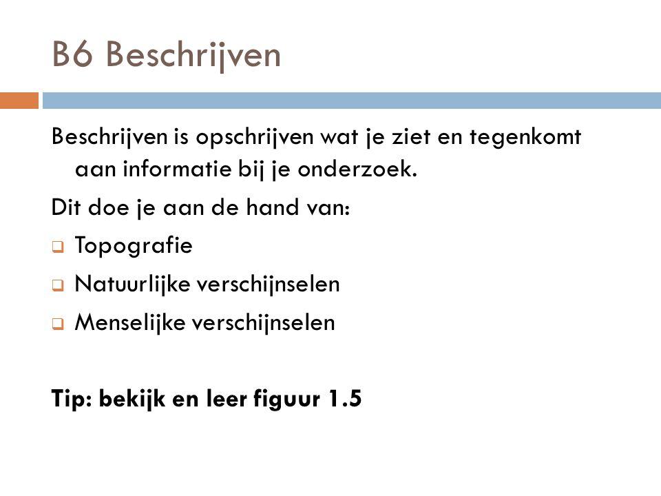 B6 Beschrijven Beschrijven is opschrijven wat je ziet en tegenkomt aan informatie bij je onderzoek. Dit doe je aan de hand van:  Topografie  Natuurl