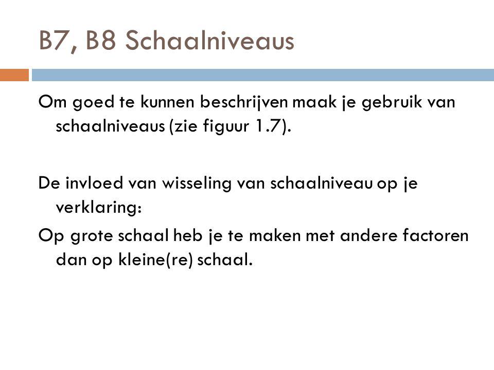 B7, B8 Schaalniveaus Om goed te kunnen beschrijven maak je gebruik van schaalniveaus (zie figuur 1.7). De invloed van wisseling van schaalniveau op je