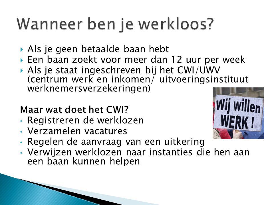  Als je geen betaalde baan hebt  Een baan zoekt voor meer dan 12 uur per week  Als je staat ingeschreven bij het CWI/UWV (centrum werk en inkomen/