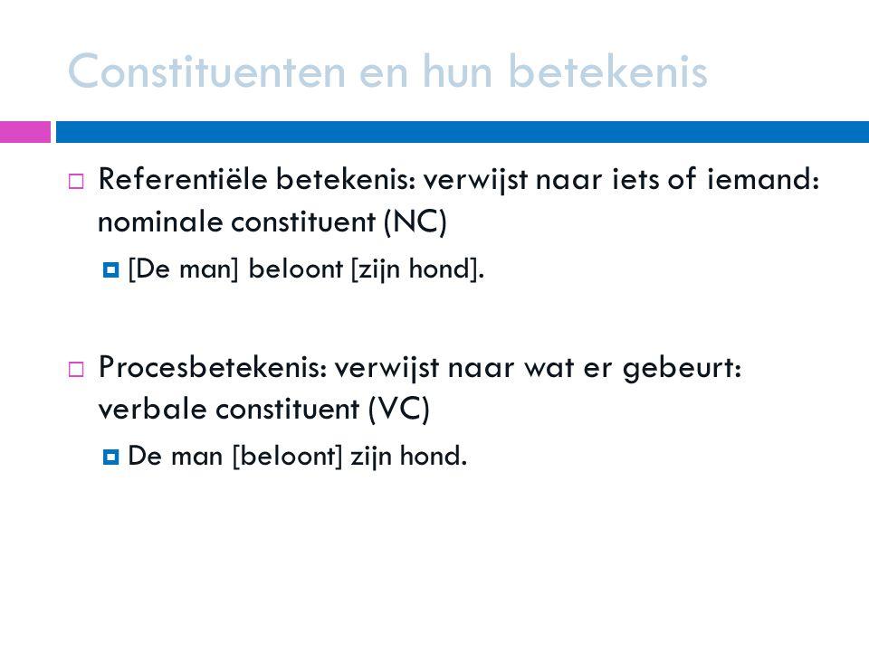 Constituenten en hun betekenis  Referentiële betekenis: verwijst naar iets of iemand: nominale constituent (NC)  [De man] beloont [zijn hond].  Pro