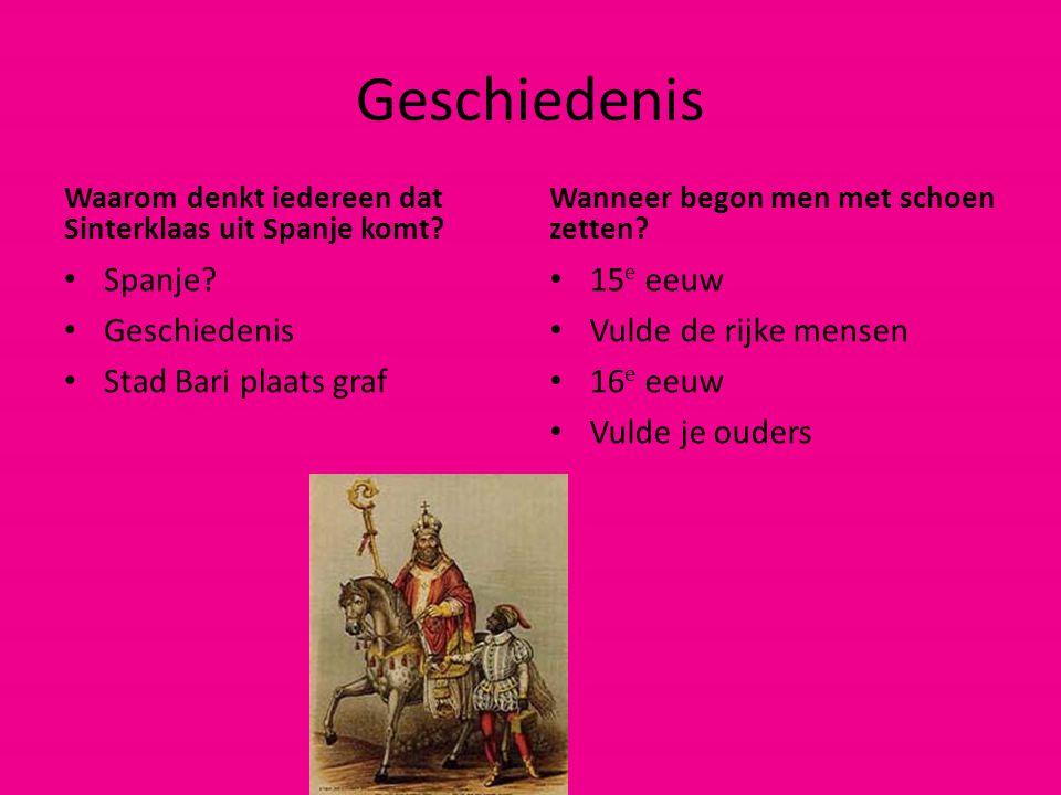 Geschiedenis Waarom denkt iedereen dat Sinterklaas uit Spanje komt? Spanje? Geschiedenis Stad Bari plaats graf Wanneer begon men met schoen zetten? 15