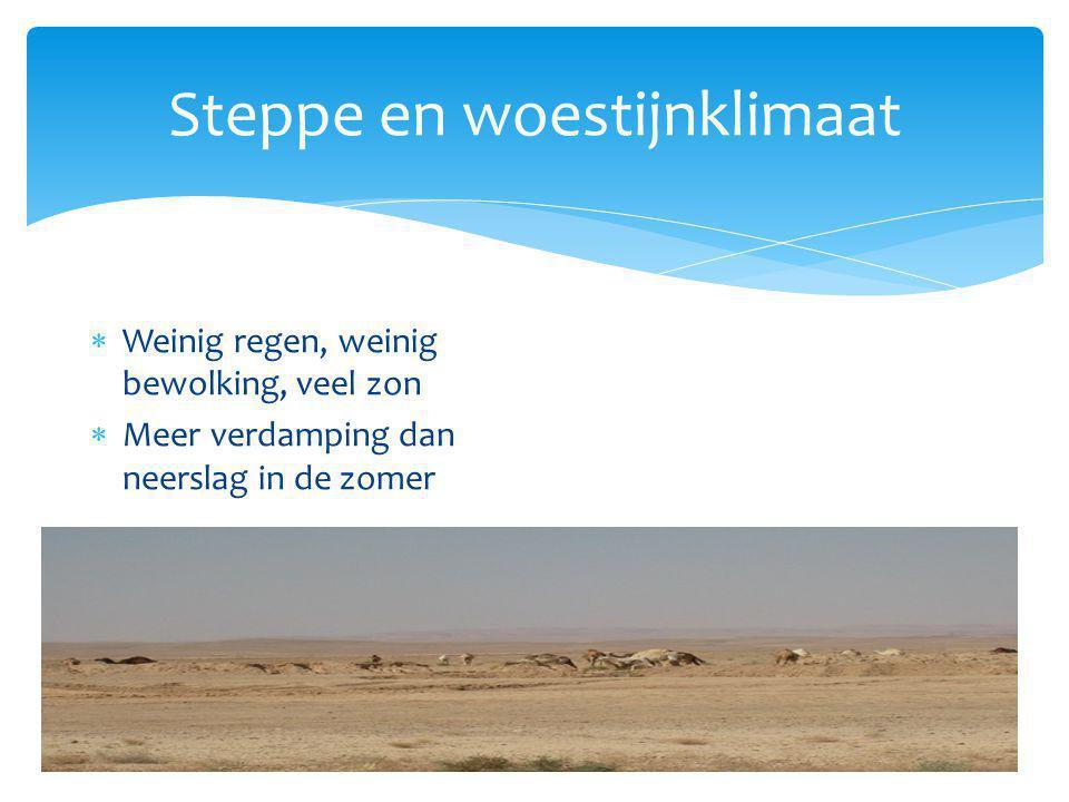 Steppe en woestijnklimaat  Weinig regen, weinig bewolking, veel zon  Meer verdamping dan neerslag in de zomer