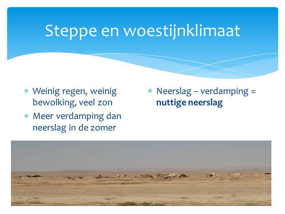 Steppe en woestijnklimaat  Weinig regen, weinig bewolking, veel zon  Meer verdamping dan neerslag in de zomer  Neerslag – verdamping = nuttige neer