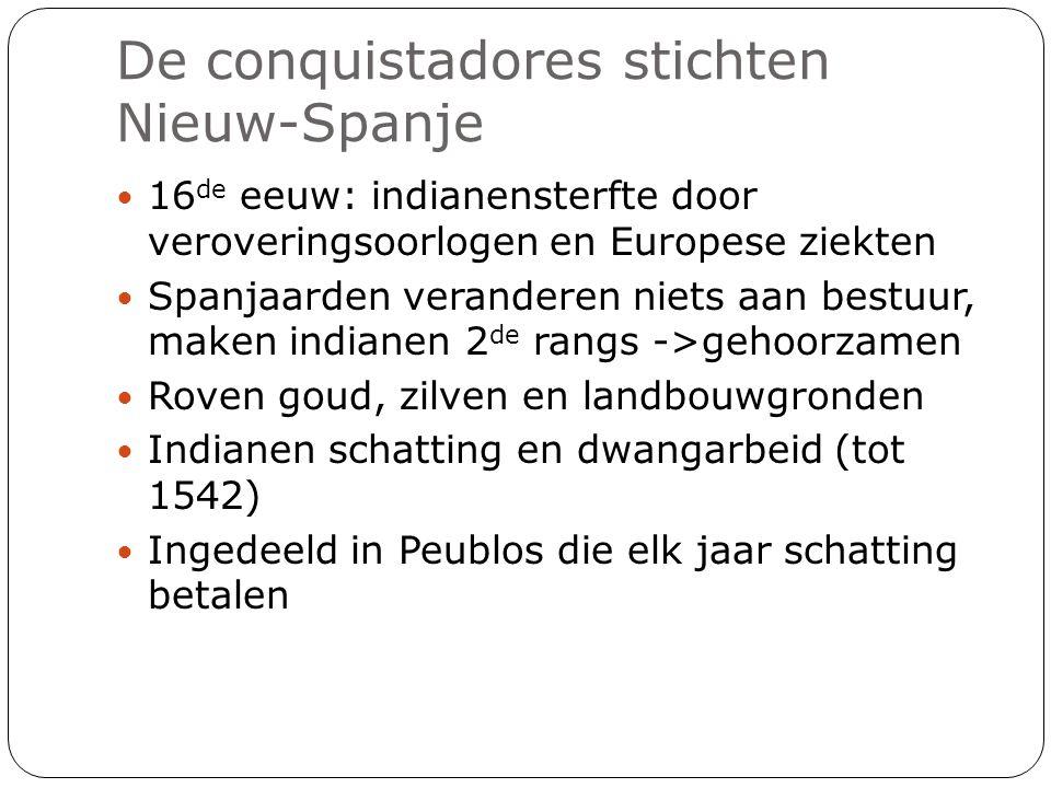 De conquistadores stichten Nieuw-Spanje 16 de eeuw: indianensterfte door veroveringsoorlogen en Europese ziekten Spanjaarden veranderen niets aan best