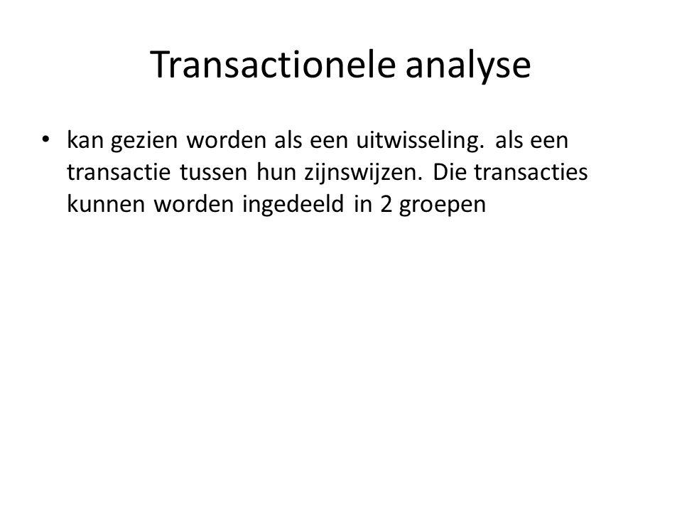 Transactionele analyse kan gezien worden als een uitwisseling. als een transactie tussen hun zijnswijzen. Die transacties kunnen worden ingedeeld in