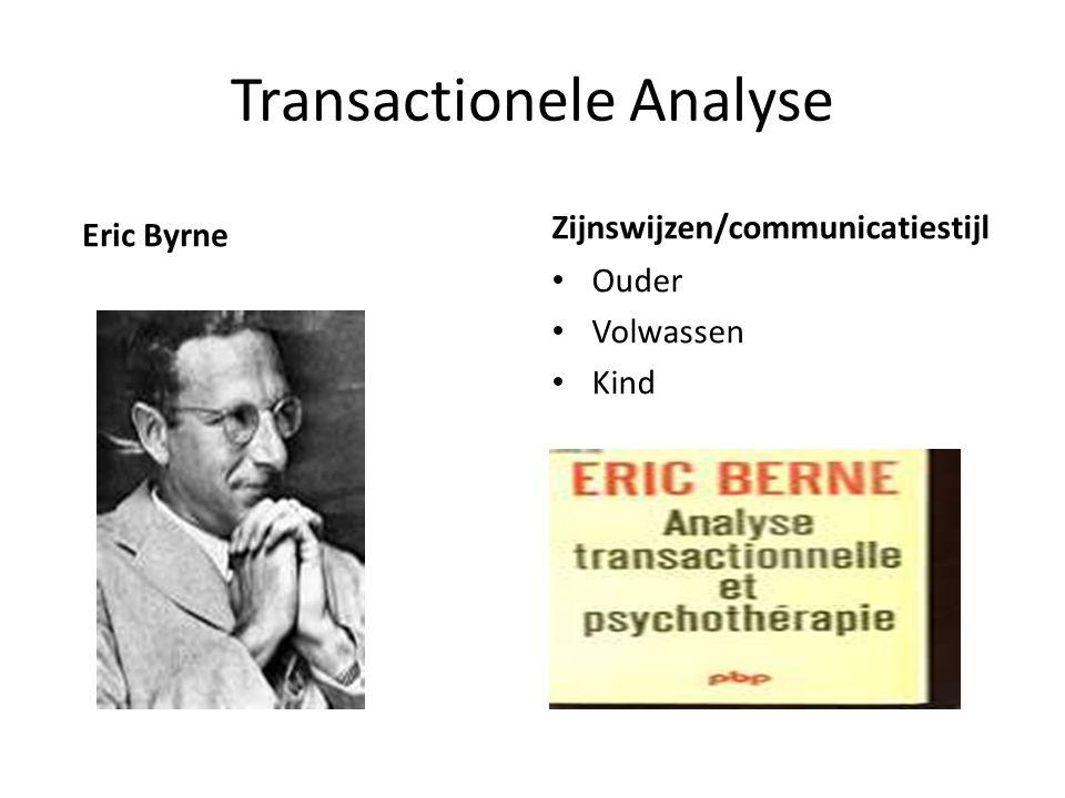 Transactionele Analyse Eric Byrne Zijnswijzen/communicatiestijl Ouder Volwassen Kind