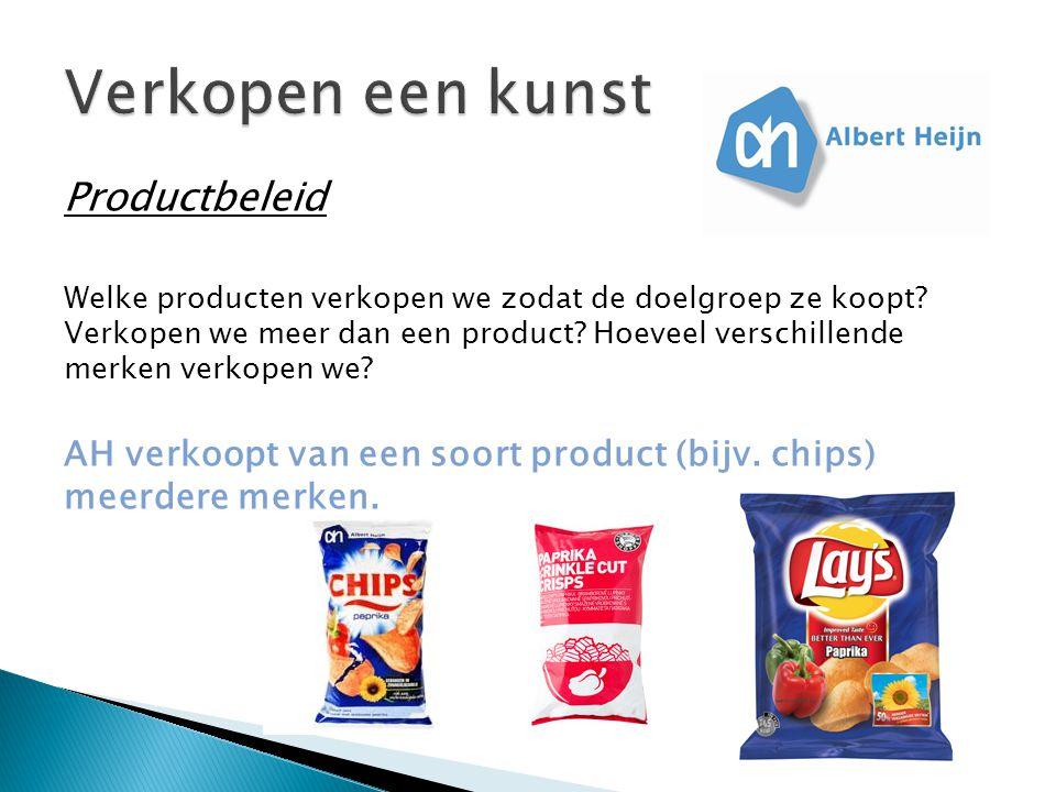 Productbeleid Welke producten verkopen we zodat de doelgroep ze koopt.