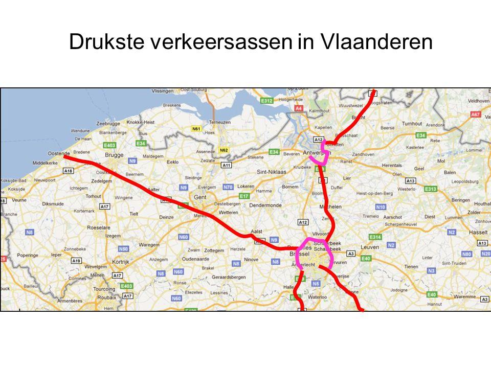 Drukste verkeersassen in Vlaanderen