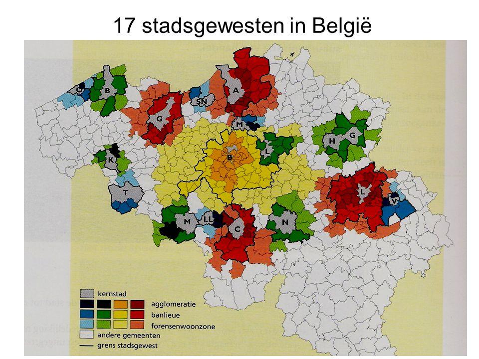 17 stadsgewesten in België