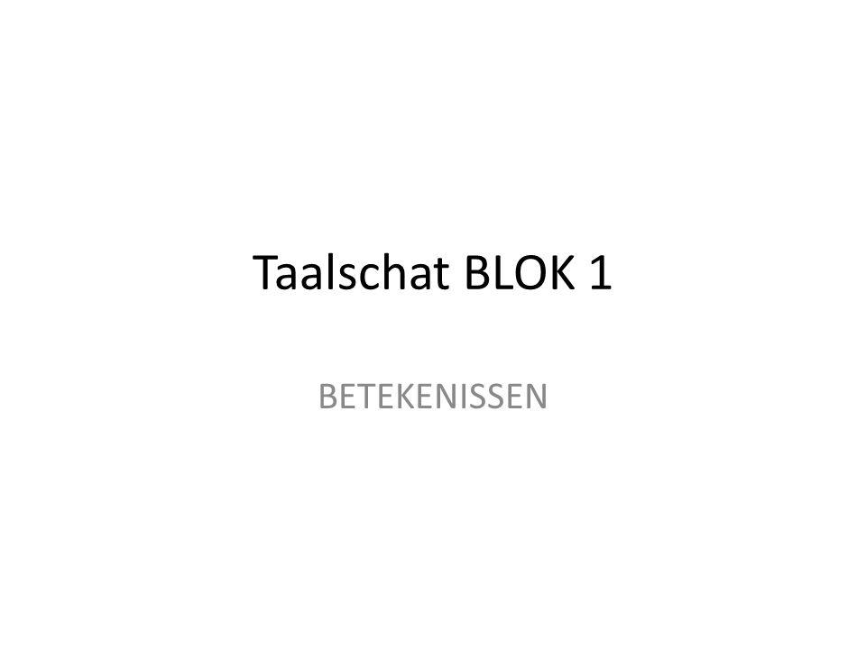 Taalschat BLOK 1 BETEKENISSEN