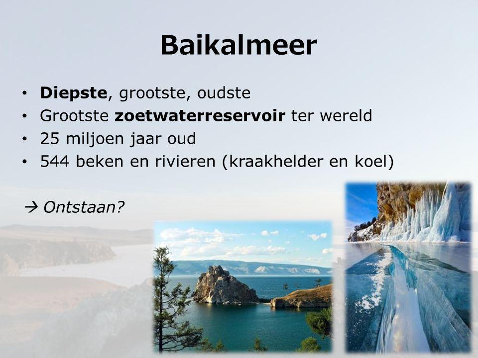 Diepste, grootste, oudste Grootste zoetwaterreservoir ter wereld 25 miljoen jaar oud 544 beken en rivieren (kraakhelder en koel)  Ontstaan? Baikalmee