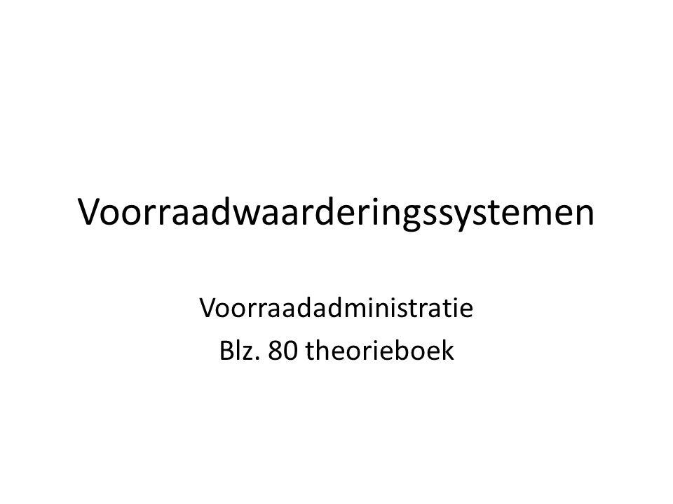 Voorraadwaarderingssystemen Voorraadadministratie Blz. 80 theorieboek
