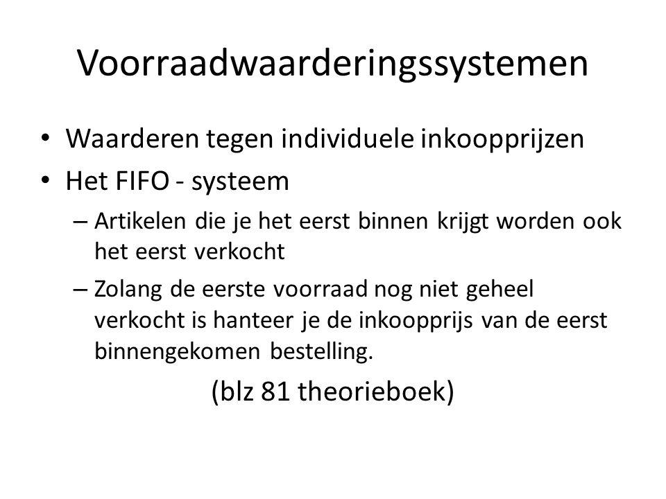 Voorraadwaarderingssystemen Waarderen tegen individuele inkoopprijzen Het FIFO - systeem – Artikelen die je het eerst binnen krijgt worden ook het eer
