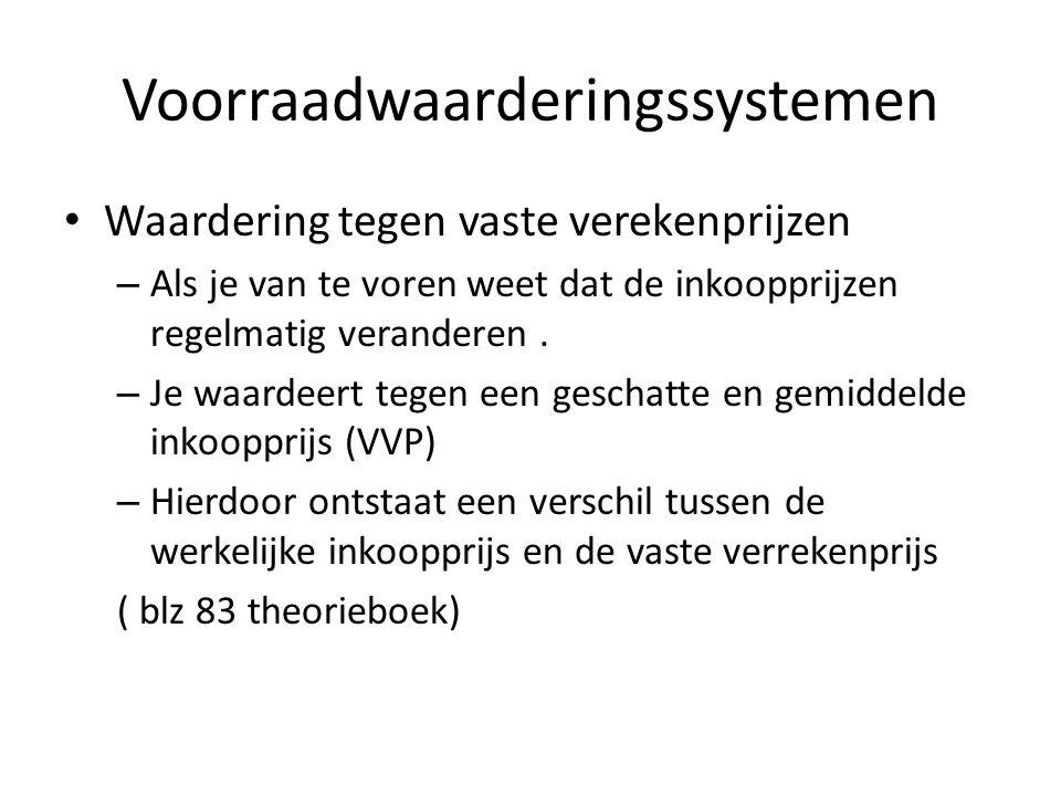 Voorraadwaarderingssystemen Voorraadwaardering tegen vervangingswaarde Wanneer de inkoopprijs van de artikelen erg verschillen in prijs.