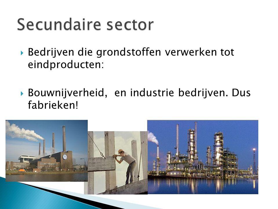  Bedrijven die grondstoffen verwerken tot eindproducten:  Bouwnijverheid, en industrie bedrijven. Dus fabrieken!