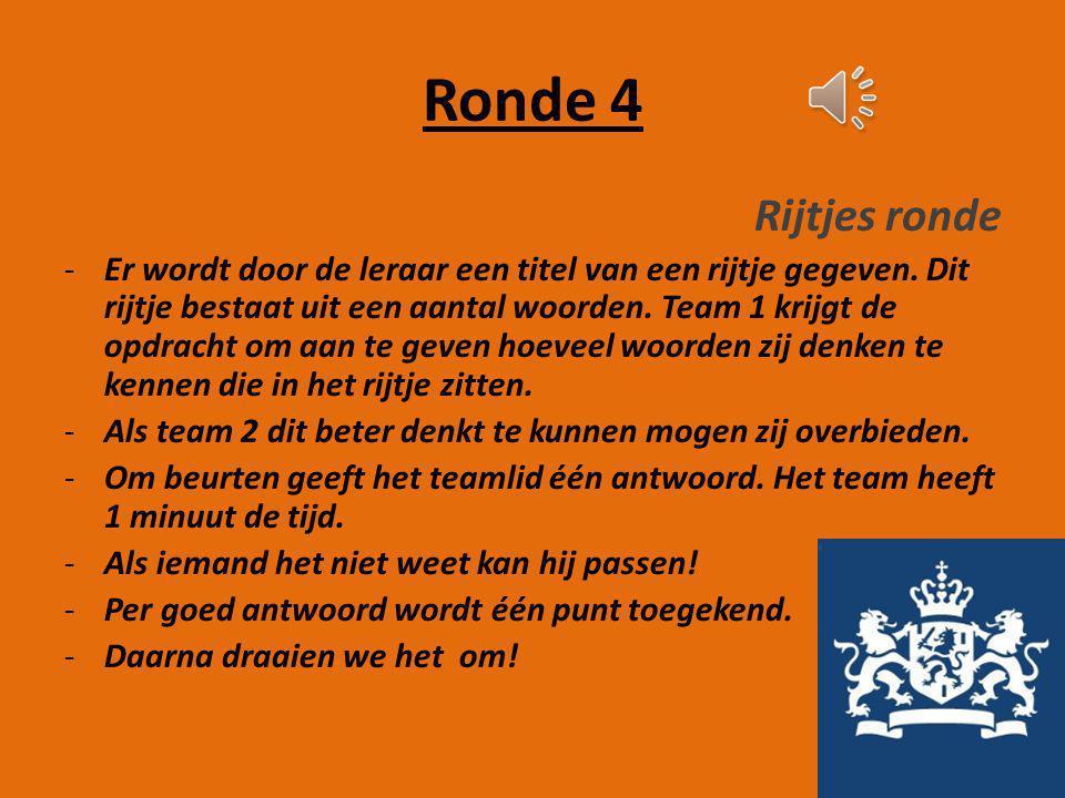 Ronde 3 Namen ronde -De teamcaptain krijgt 2 minuten de tijd om verschillende begrippen uit te leggen aan het team. Ze mogen echter het woord zelf nie