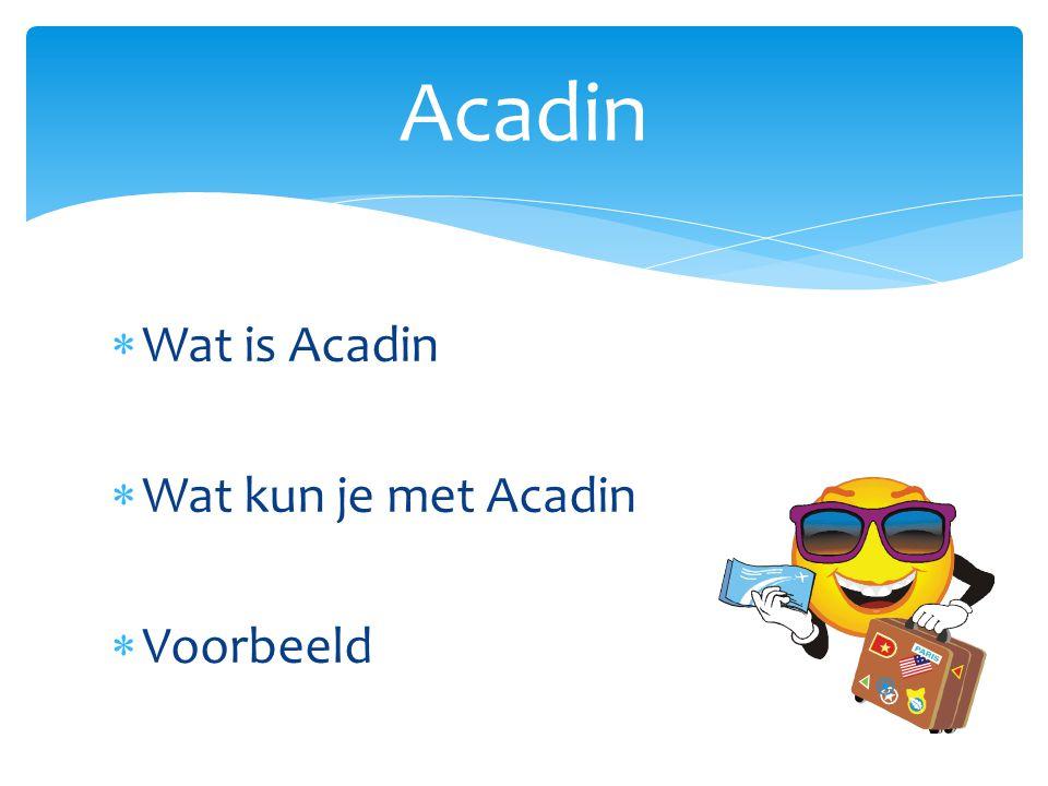  Wat is Acadin  Wat kun je met Acadin  Voorbeeld Acadin