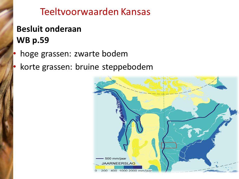 Teeltvoorwaarden Kansas hoge grassen: zwarte bodem korte grassen: bruine steppebodem Besluit onderaan WB p.59