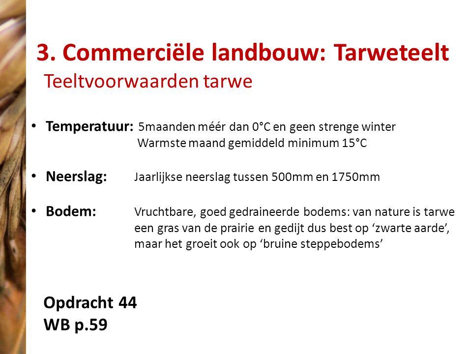 3. Commerciële landbouw: Tarweteelt Teeltvoorwaarden tarwe Temperatuur: 5maanden méér dan 0°C en geen strenge winter Warmste maand gemiddeld minimum 1