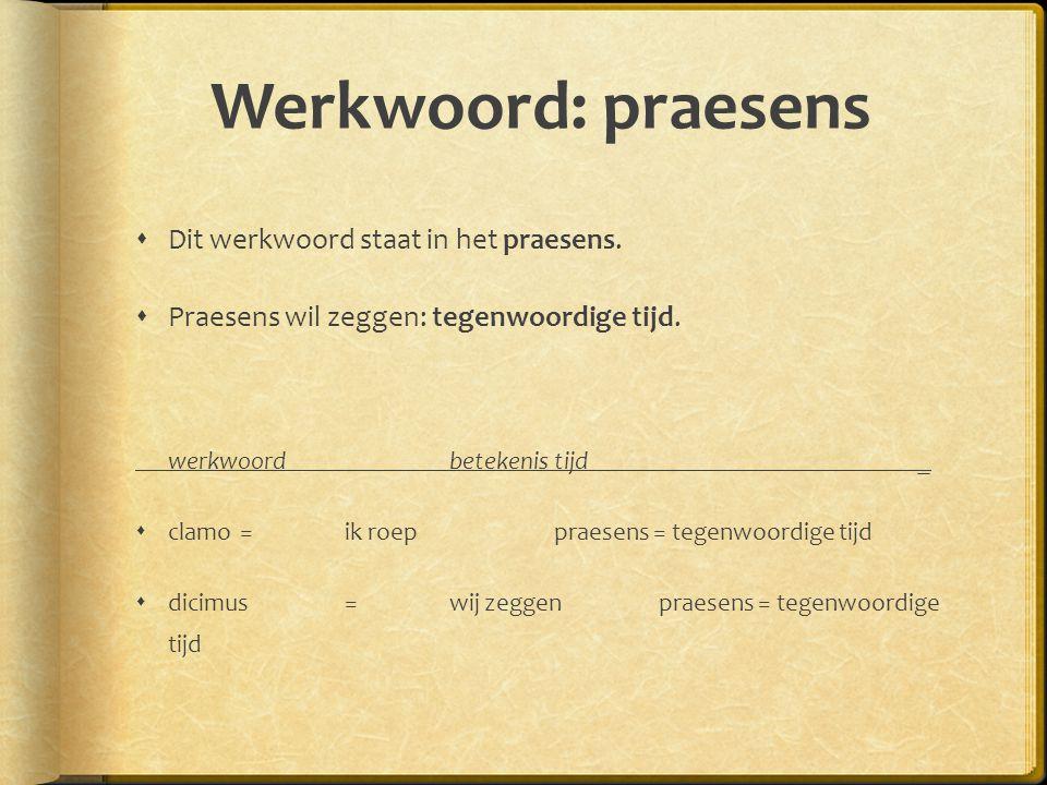 Werkwoord: praesens  Dit werkwoord staat in het praesens.  Praesens wil zeggen: tegenwoordige tijd. werkwoordbetekenistijd _  clamo = ik roep praes
