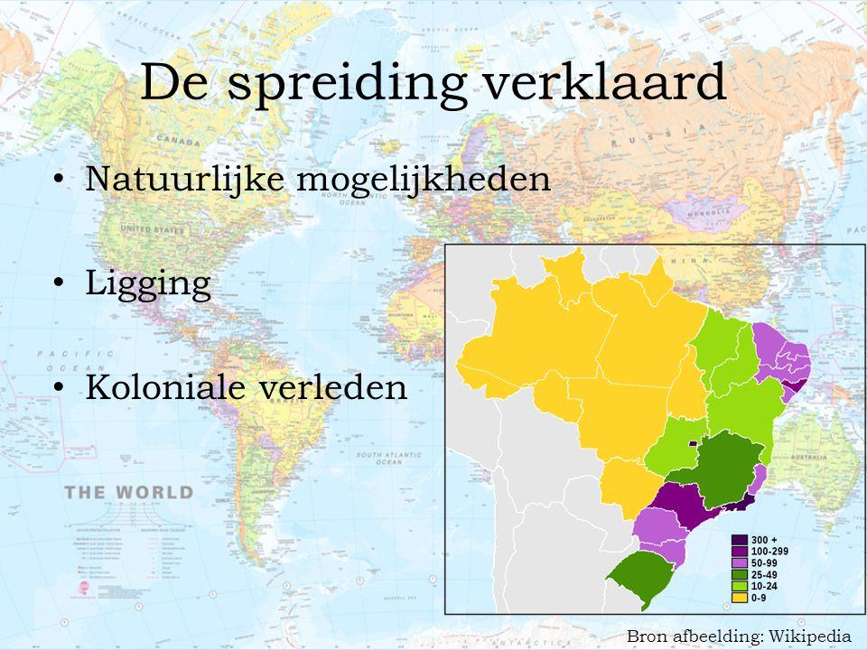 De spreiding verklaard Natuurlijke mogelijkheden Ligging Koloniale verleden Bron afbeelding: Wikipedia