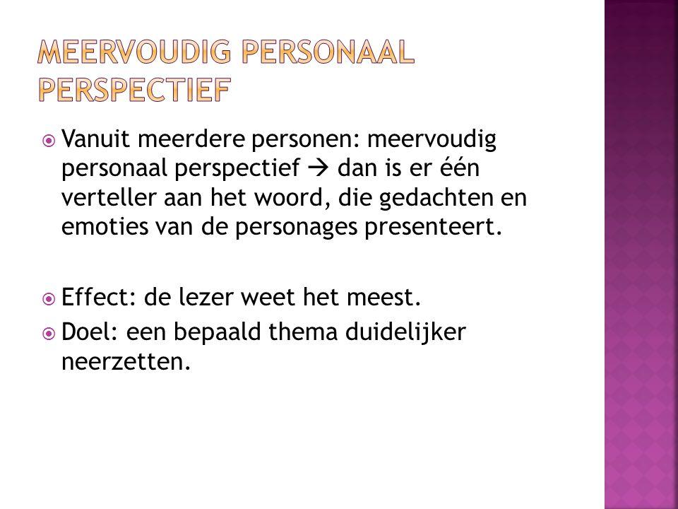  Vanuit meerdere personen: meervoudig personaal perspectief  dan is er één verteller aan het woord, die gedachten en emoties van de personages prese