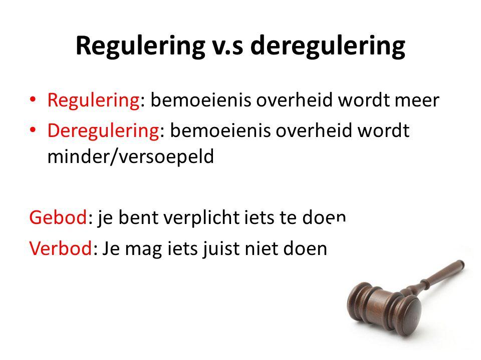 Regulering v.s deregulering Regulering: bemoeienis overheid wordt meer Deregulering: bemoeienis overheid wordt minder/versoepeld Gebod: je bent verpli
