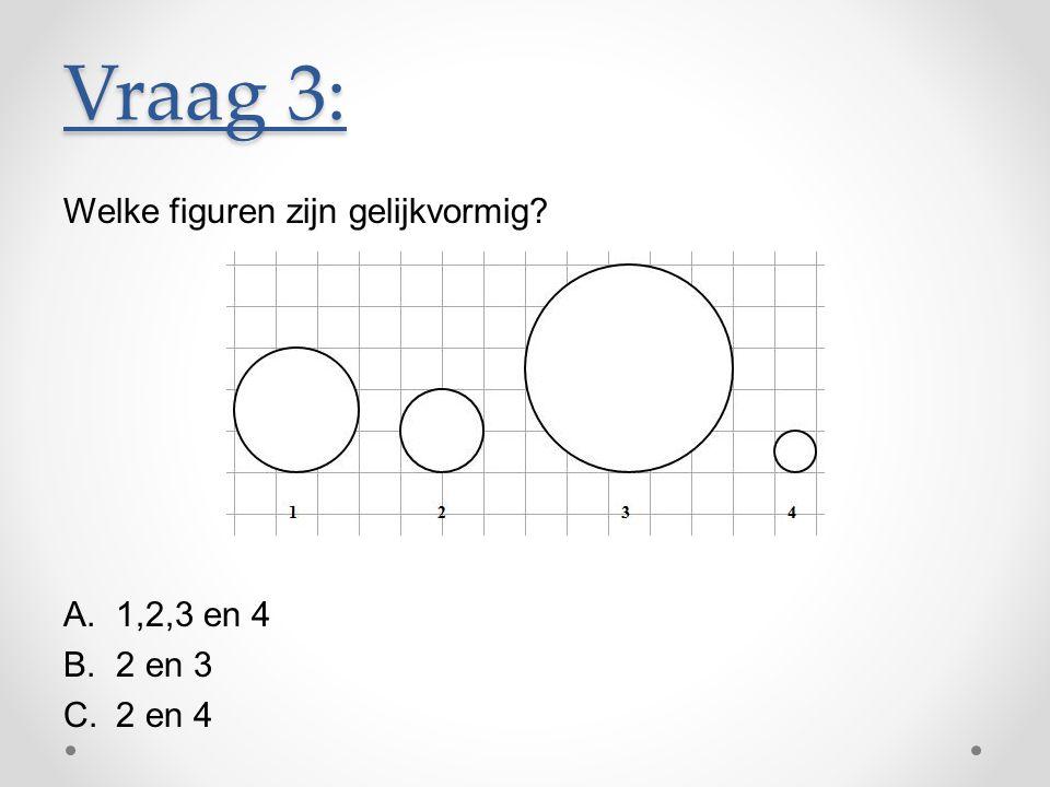 Welke figuren zijn gelijkvormig? A.1,2,3 en 4 B.2 en 3 C.2 en 4 Vraag 3:
