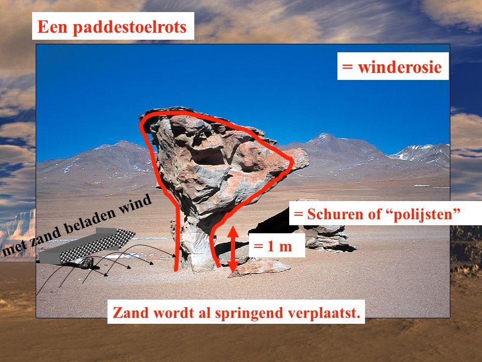 """Een paddestoelrots = Schuren of """"polijsten"""" = 1 m Zand wordt al springend verplaatst. = winderosie met zand beladen wind"""
