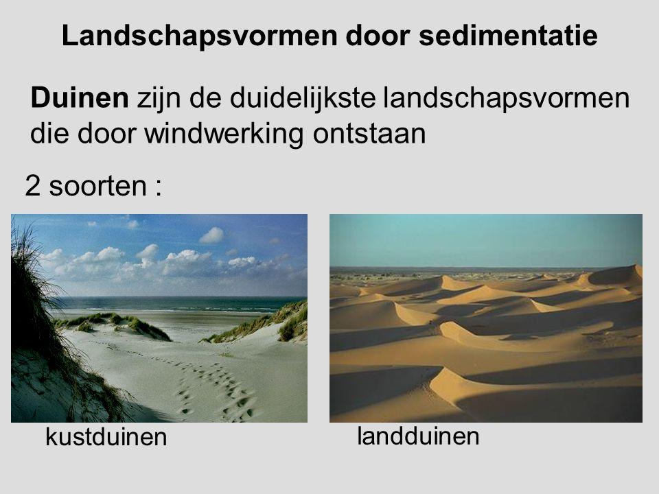 Landschapsvormen door sedimentatie Duinen zijn de duidelijkste landschapsvormen die door windwerking ontstaan 2 soorten : kustduinen landduinen