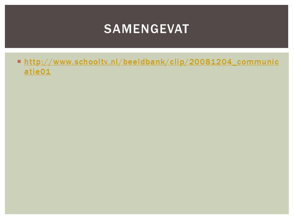  http://www.schooltv.nl/beeldbank/clip/20081204_communic atie01 http://www.schooltv.nl/beeldbank/clip/20081204_communic atie01 SAMENGEVAT