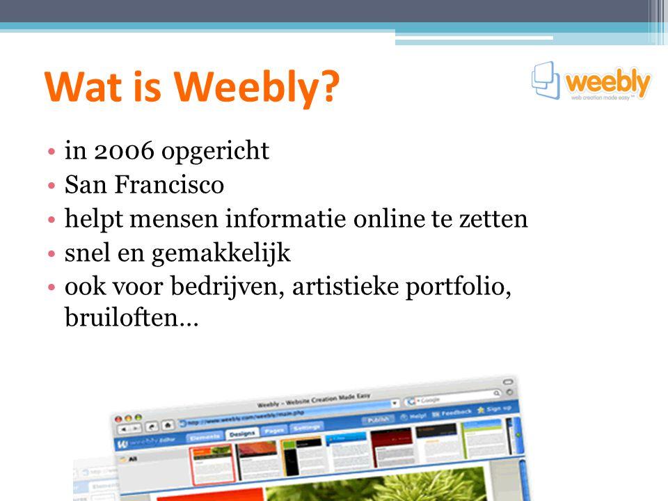 Waarvoor kan je Weebly gebruiken.