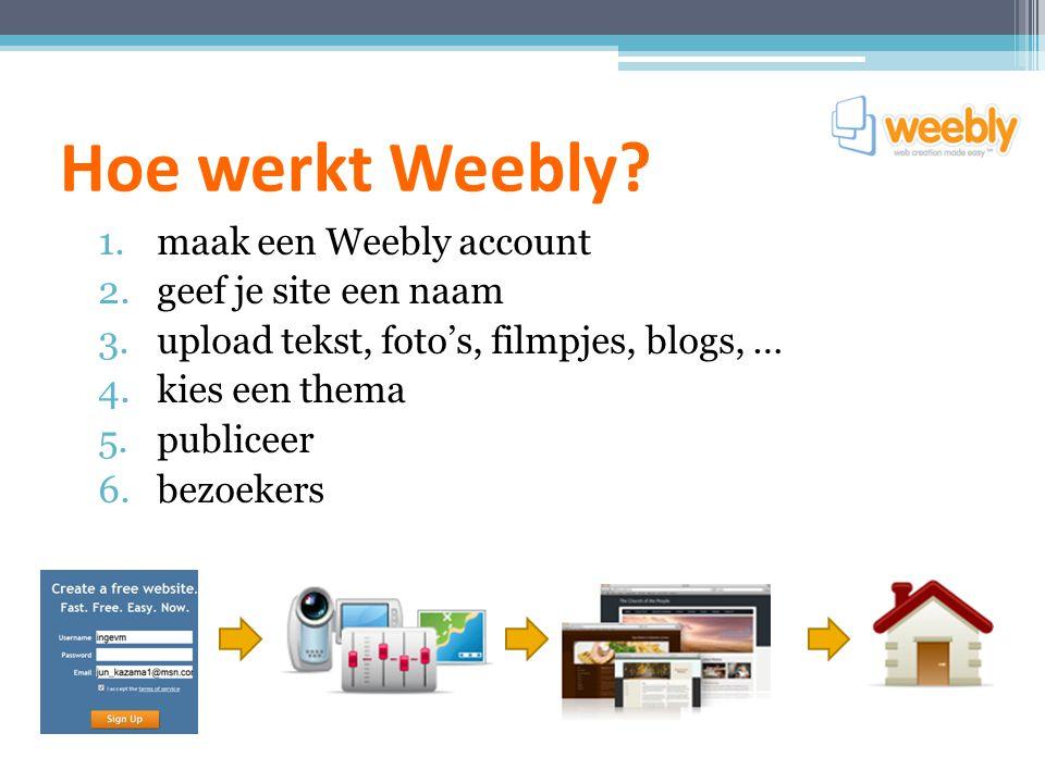 Hoe werkt Weebly? 1.maak een Weebly account 2.geef je site een naam 3.upload tekst, foto's, filmpjes, blogs, … 4.kies een thema 5.publiceer 6.bezoeker