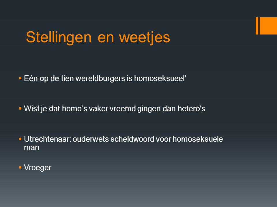 Stellingen en weetjes  Eén op de tien wereldburgers is homoseksueel'  Wist je dat homo's vaker vreemd gingen dan hetero's  Utrechtenaar: ouderwets