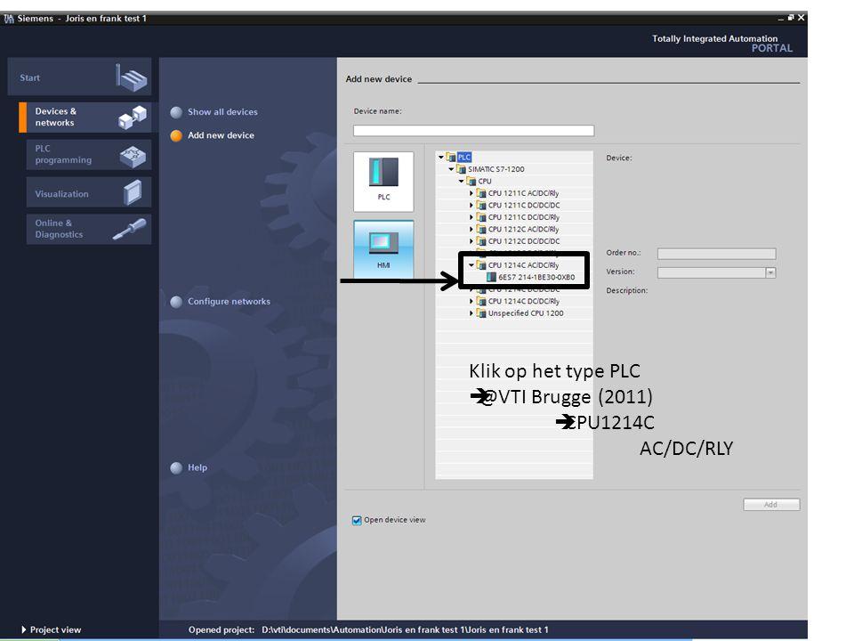 Klik op het type PLC  @VTI Brugge (2011)  CPU1214C AC/DC/RLY
