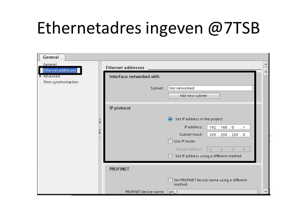 Ethernetadres ingeven @7TSB